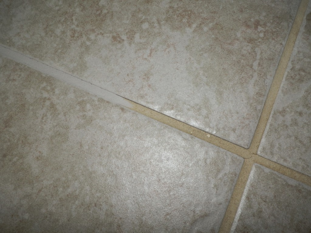 Grout half completed.